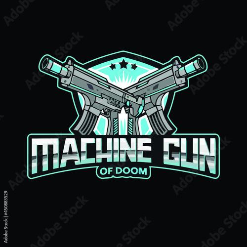 Fototapeta assault rifle machine gun art vector design illustration print poster wall art c