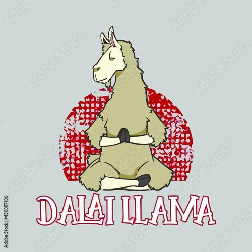 animals dalai llama animal version terry vector design illustration print poster Fotobehang