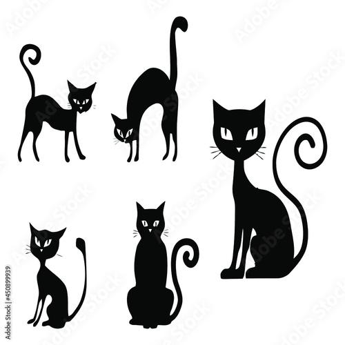 set of various black cat silhouettes sitting cat halloween designs vector design Fotobehang