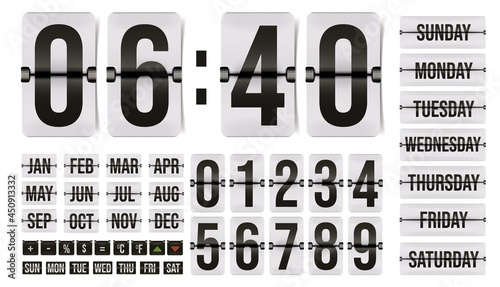 Foto Flip clock and calendar with numerals, month and day