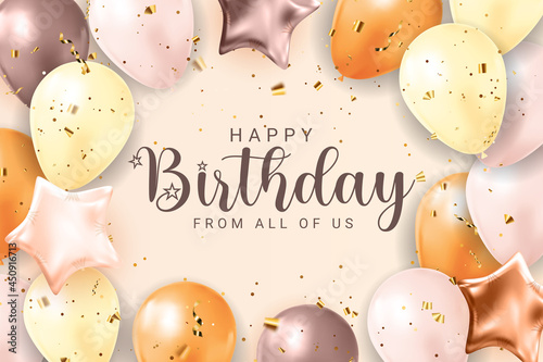 Wallpaper Mural Happy Birthday congratulations banner design with Confetti, Balloons and Glossy Glitter Ribbon for Party Holiday Background