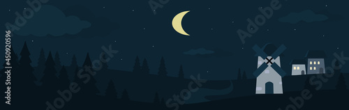 Foto Vector illustration of night farm landscape, barns and mill in night field with pine trees, background with stars and crescent moon in the sky