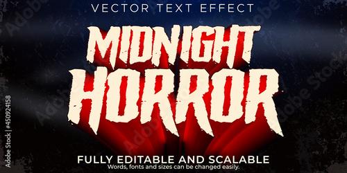 Slika na platnu Horror text effect, editable night and scary text style