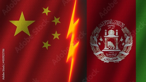 Fotografia Afghanistan and China Flags Together, Wavy Fabric Texture Effect, Neon Glow Effe