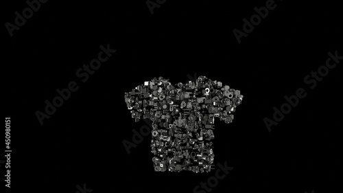 Canvastavla 3d rendering mechanical parts in shape of symbol of t-shirt isolated on black ba