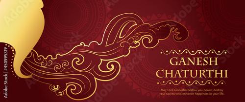Fotografia Lord Ganesha , Ganesh festival illustration of Lord Ganpati background for Ganes