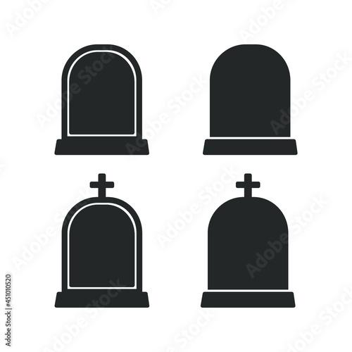 Fotografie, Obraz Gravestone with cross logo, tombstone icon, headstone silhouette vector clipart set