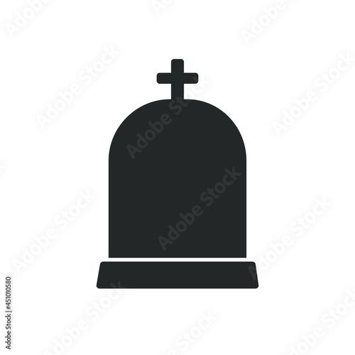 Fotografia, Obraz Gravestone with cross logo, tombstone icon, headstone silhouette vector clipart set