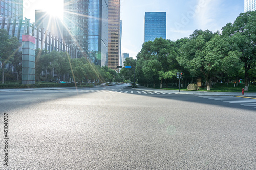 road with modern office building in hangzhou china Fotobehang