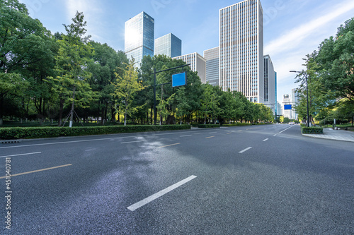 Tela road with modern office building in hangzhou china