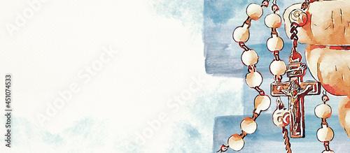 Obraz na plátně Rosary. Christian banner. Watercolor.