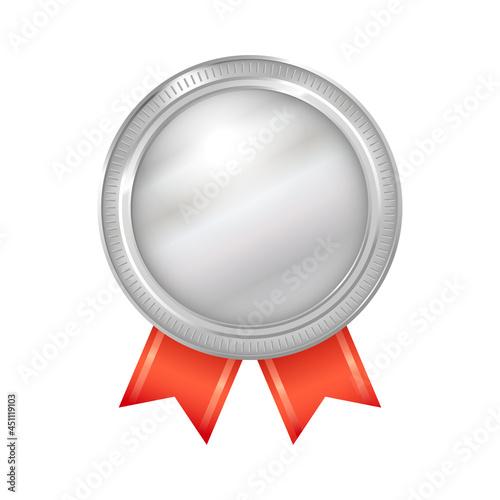銀メダルのアイコン。赤いリボンと二重のシルバーメダルのイラスト。 Fototapet