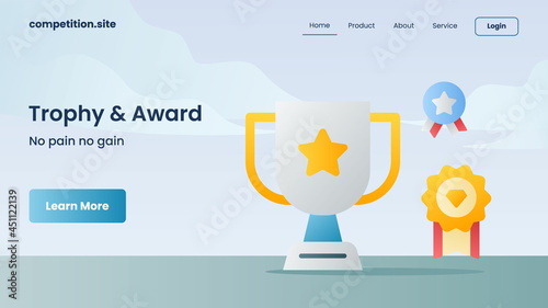 Fotografia trophy and award with tagline no pain no gain for website template or landing ho