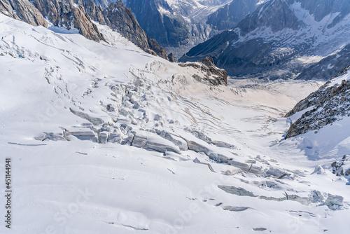 Fotografia Glacier du Géant descendant vers la mer de glace