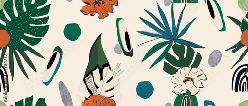Modern exotic jungle plants and flowers illustration pattern. Collage contemporary seamless pattern. Fashionable template for design.