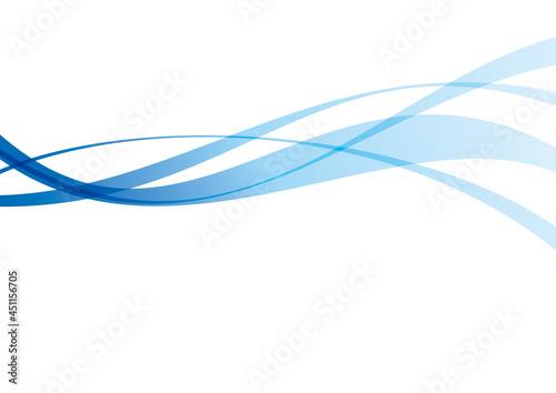 Fényképezés 青色の滑らかな曲線のイラスト