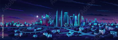 Wallpaper Mural Simple flat illustration of Kuala Lumpur city in Malaysia and skyline landmarks