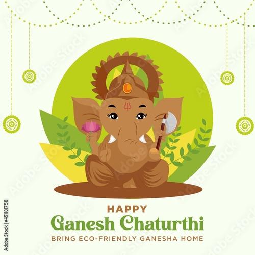 Canvas Print Happy Ganesh Chaturthi Indian festival banner design template.