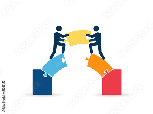Canvas Bridging the gap puzzle image. Clipart image