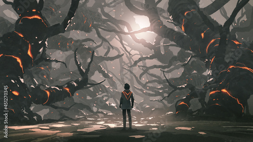 The man standing in a road full of evil trees, digital art style, illustration painting