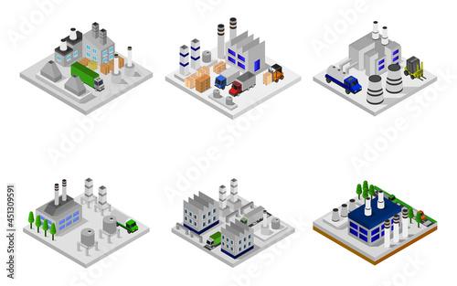 Isometric Industry Set On Background Vector illustration