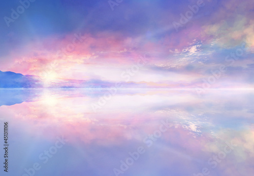 Fotografie, Tablou 水鏡に映る朝焼けの風景イラスト