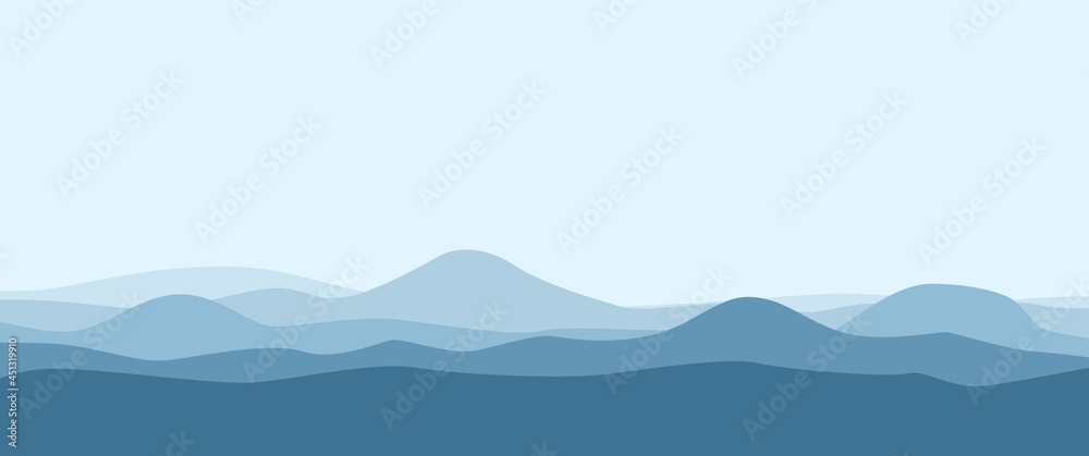 Blue mountain layers or sea tides landscape vector illustration suitable for background, desktop background, backdrop design, ads banner, travel banner.