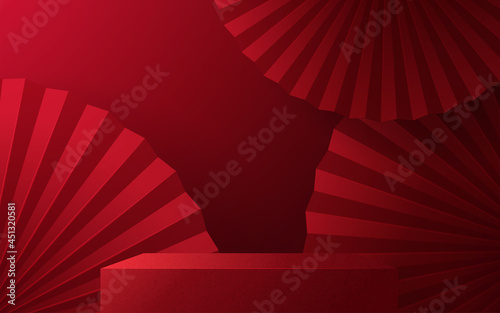 Tela 3d Podium round, square box stage podium and paper art Chinese new year,Chinese Festivals, Mid Autumn Festival, red paper cut, fan, flower and asian elements with craft style on background