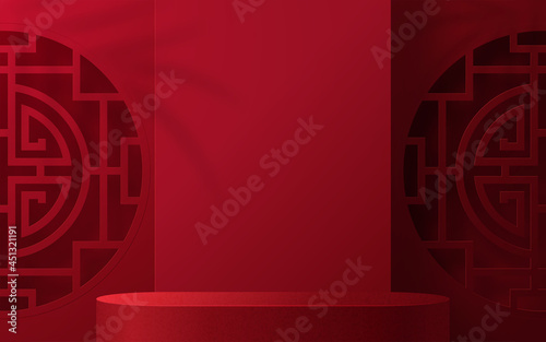 Fotografia 3d Podium round, square box stage podium and paper art Chinese new year,Chinese Festivals, Mid Autumn Festival, red paper cut, fan, flower and asian elements with craft style on background