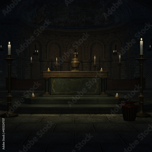 Canvas 3d illustration of an fantasy background with a mystical atmosphere