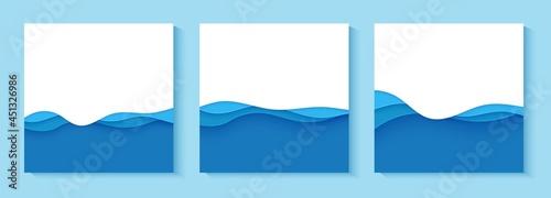 Billede på lærred Set of flyers with blue waves in paper cut style
