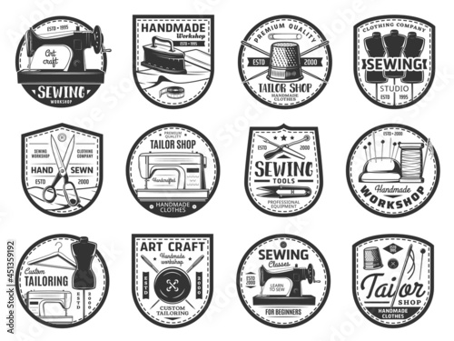 Billede på lærred Sewing and tailor vector icons with threads, needles, buttons and sewing machines