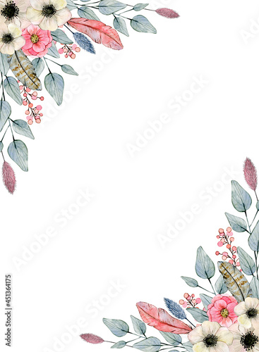 Fotografering Watercolor illustration frame with eucalyptus, feathers, anemones and berries