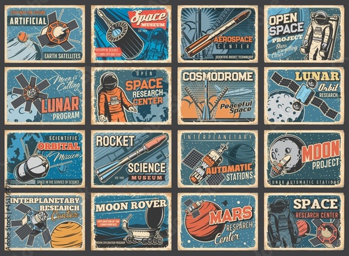 Canvas Print Galaxy, spaceship and outer space vintage posters, vector rocket shuttle flight to galaxy planets