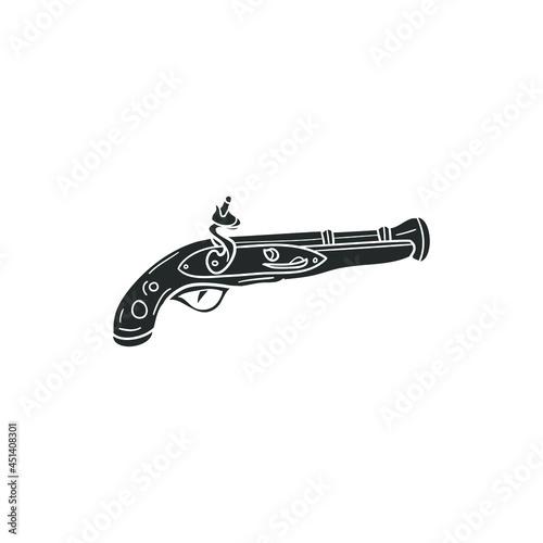 Fototapeta Blunderbuss Gun Icon Silhouette Illustration