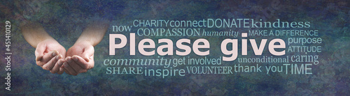 Fotografering Please give generously charity campaign banner - wide banner with a man's cupped