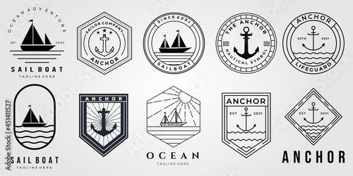 Fotografia set of anchor logo and bundle of ocean sailing boat icon vector illustration des