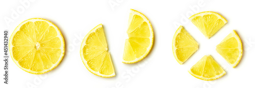 Lemon slices isolated on white, from above Fototapet