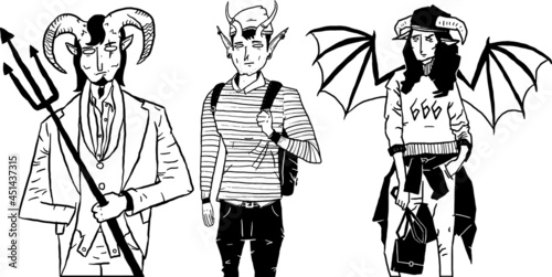 Fotografia, Obraz set of fashion demons in tattoo sketch style