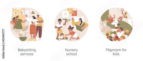 Fotografia Kids bringing up and leasure time abstract concept vector illustration set
