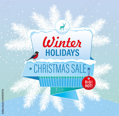 Canvastavla winter sale christmas discounts shopping snow cold bullfinches gifts