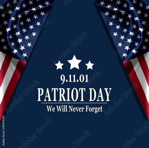 Fototapeta Patriot Day of USA background on american flag