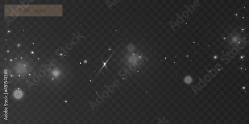 Glowing light effect with many glitter particles isolated on transparent background. Vector star cloud with dust.