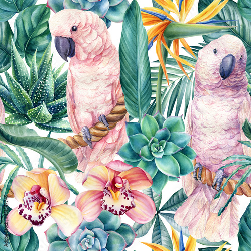 Obraz na plátně Tropical leaves, flowers and pink cockatoo parrots, jungle background, watercolor painting