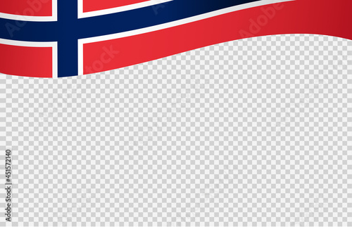 Fototapeta Waving flag of Norway isolated  on png or transparent  background,Symbol of Norw