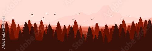 Billede på lærred forest mountain flat design vector banner template good for web banner, ads bann