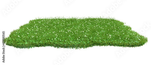 Squared surface patch covered with clover and green grass isolated on white background. Realistic natural element for design. Bright 3d illustration.