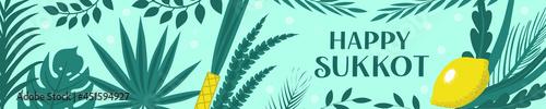 Fotografia Sukkot palm tree leaves frame, date palm leafes border, blue sky background