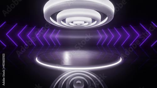 Fotografia Virtual TV studio backdrop with neon light bars