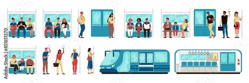 Metro Subway People Set Fotobehang